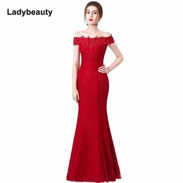 Red Mermaid Casual Dress Australia - Beads Lace Mermaid Long Evening Dress 2018 Cheap Red Prom Dresses Robe De Soiree Off The Shoulder Party Dress Y19051401