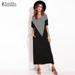 $enCountryForm.capitalKeyWord Australia - Zanzea Women Summer Short Lose Black Maxi Shift T -shirt Dress Ladies Vintage Elegant Straight Dress Baggy Kaftan 5xl Y19071101