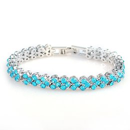 $enCountryForm.capitalKeyWord NZ - Wholesale Roman charm bracelet European and American zircon crystal jewelry chain Blue,White,Purple,Rose Red,Colorful by DHL