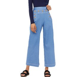 China 2019 Light Blue high waist jeans woman's beading Lace Up loose wide legs jeans denim Pants boyfriend for women Trousers cheap jeans loose legs for women suppliers