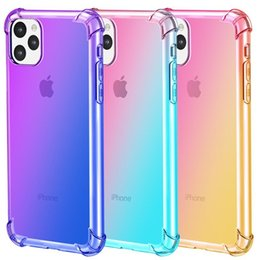 Chinese  Gradient Colors Anti Shock Airbag Clear Cases For iPhone 11 Pro Max XR XS 8 7Plus 6S For Samsung S10 S9 Note 9 manufacturers
