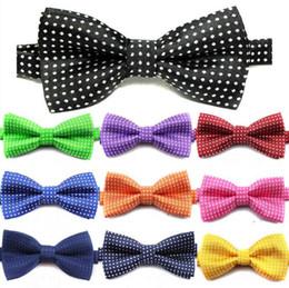 Wholesale Children Bow Ties Baby Tie Newborn Necktie Polka Dot Design Noble Tie School Kids Cute Pure Color Bow Tie British style Necktie D106
