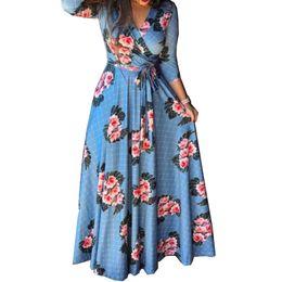 $enCountryForm.capitalKeyWord NZ - Spring Summer Dress Women Sundress Boho Beach Printing Tight Waist V Neck Long Dress Plus Size Elegant Party Vestidos Blue Belt