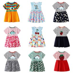 Dinosaur shorts online shopping - kids designer clothes girls dinosaur stripe Dress children Sequin print Princess dresses Summer fashion Boutique Kids Clothing C6618