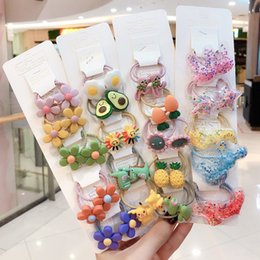 hair elastic striped Australia - 3 6 10Pcs 20Pcs Set Cute Cartoon Animals Fruit Elastic baby girl hairclips Scrunchies Ponytail Holder Headbands for Kids Hair Accessories