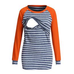 22542c9a8c77b Women Striped Pregnant Long Tops Maternity Clothes Nursing Breastfeeding T-shirt  Woman Ladies Long Sleeve Tops Tees