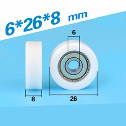 furniture wheels wholesale Australia - 5PCS low noise 626zz ball bearing coated with POM plastic roller pulley F6*26*8mm furniture flat bearing wheel 0626K