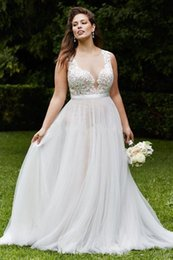 $enCountryForm.capitalKeyWord NZ - 2019 New Vintage Country Lace Plus Size Wedding Dresses Sheer V Neck A Line Tulle Wedding Bridal Gown Cheap Custom Made Sweep Train