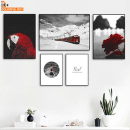 $enCountryForm.capitalKeyWord NZ - Snow Mountain Train Bird Flower Red Quote Wall Art Canvas Painting Nordic Posters And Prints Wall Pictures For Living Room Decor