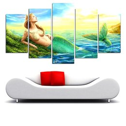 $enCountryForm.capitalKeyWord Australia - Mermaid Girl ,5 Pieces The Latest Most Popular High-definition Canvas Printed Home Decorative Art  Unframed   Framed
