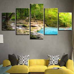 Large Oil Prints Canvas Australia - Unframed 5 Panel Green Waterfall Landscape Wall Art Oil Painting on Canvas Printed Painting Decor Painting Large Living Room