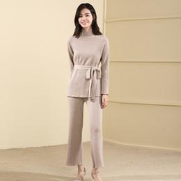 $enCountryForm.capitalKeyWord Australia - Suit-dress Bandage Knitting Unlined Upper Garment Solid Color Half High Lead Sleeve Head Sweater Easy Leisure Time Suit