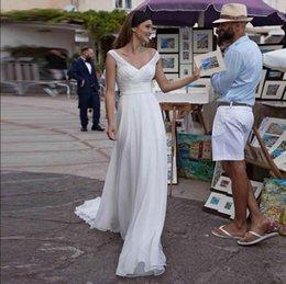 $enCountryForm.capitalKeyWord Australia - Simple Beach Wedding Dresses Open Deep V neck Pleats Vestido de novia Bridal Gowns Floor Length Long Chiffon Women Gowns for Big Day