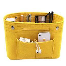 $enCountryForm.capitalKeyWord Australia - Cosmetic Bag Organizer Multi-pockets Fits Handbag Felt Cloth Insert Storage Bag Travel Portable Toiletry Cosmetic Women Bags
