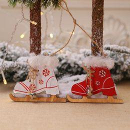 $enCountryForm.capitalKeyWord Australia - 2pcs New Year Santa Gloves Reindeer Christmas New Year Creative Christmas Boots Pendant Ornaments Doll Home Decor