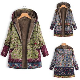 $enCountryForm.capitalKeyWord Australia - Fashion Womens Winter Warm Befree Outwear Floral Print Hooded Pockets Vintage Oversize Coats Pop Tide Female Jackets Plus Size