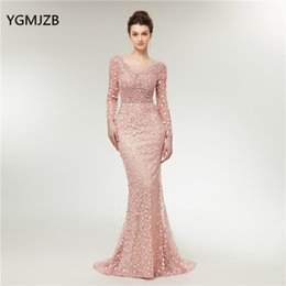 $enCountryForm.capitalKeyWord Australia - Luxury Evening Dresses Mermaid Long Sleeves Pearls Lace Embroidery Pink Women Formal Party Gown Prom Dress Robe De Soiree Q190516