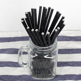 High Tea Party Decorations Australia - Wholesale High Quality 19.7cm Disposable Bubble Tea Thick Black Drinking Paper Straws For Bar Wedding Birthday Party Decorations Straws