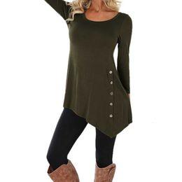 Wholesale shirts trim resale online – Women Clothing Women Blouses Large Size Blouse Women Long Sleeve Button Trim Blouse Solid Round Neck Tunic Shirt Plus Size Camisas