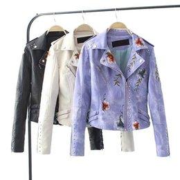 $enCountryForm.capitalKeyWord Australia - Punk Style Faux Soft Leather Jacket Women Floral Faux Jacket Casual Pu Motorcycle Zipper Coat Outerwear