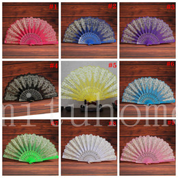 spanish lace hand fans Australia - Folding Hand Held Flower Fan 9 Colors Summer Chinese Spanish Style Dance Wedding Lace Colorful Fans Party Favor
