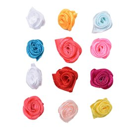 $enCountryForm.capitalKeyWord UK - 100Pcs Rose Ribbon Appliques Mini Handmade Satin Rose Head Wedding Scrapbooking Decoration Sewing Supplier DIY Artificial Fake