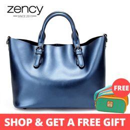 $enCountryForm.capitalKeyWord Australia - Zency 100% Genuine Leather Soft Skin Fashion Women Handbag Luxury Gold Silver Tote Bag Female Messenger Crossbody Purse Elegant J190627