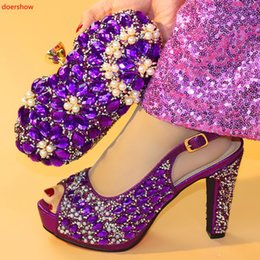 eeac4b37397c Doershow Beautiful Purple Italian Shoes With Matching Bags African Women  Shoes And Bags Set For Prom Party Summer Sandalhxx1-5