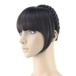 Clip Hair Black Australia - 8 Colors Synthetic Hair Fringe Black Blonde Hair Bangs with Braided Hair Clip Hairpieces Accessories