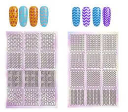 Sticker Stencil nail template online shopping - Hollow Laser Nail Art Sticker Stencil Set Gel Polish Nail Tip Transfer Guide Template Nail Decals Stickers KKA6408