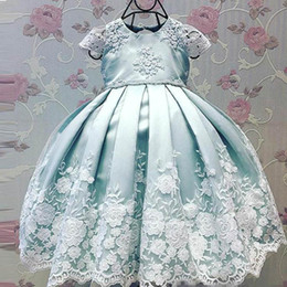 $enCountryForm.capitalKeyWord Australia - New Lovely Flower Girls' Dresses Cap Sleeve with Lace Embroidery mint blue Satin Kids Pageant toddler infant Party wedding dress Wear