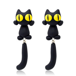827def572 2019 New Design Fashion 100% Handmade Polymer Clay Yellow Eyes Cat 3d Animal  Stud Earrings For Women Ear Stud Jewelry Brincos