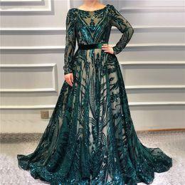 Vintage Dresses Plus Sizes Australia - Muslim Green Long Sleeve A-Line Prom Dresses Vintage Sequined Luxury Sparkle Party Evening Dress Formal Plus Size Arabian Abendkleid