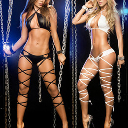 dança do poste venda por atacado-Mulheres Hot Sexy Bandage Pole Dancing Wear Bandage Lingerie Sleepwear G String Set