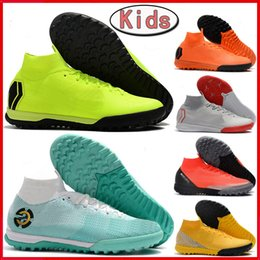 2d59c1907 NEW kids CR7 soccer cleats SuperflyX VI Elite IC TF mens indoor turf soccer  shoes youth boys Mercurial Superfly women football boots