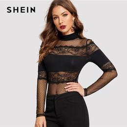 c561e578a0 SHEIN Black Mock-Neck Lace Insert Sheer Mesh Top Long Sleeve Sexy Skinny  Tee Modern Lady Harajuku Mesh Net See Through T Shirt