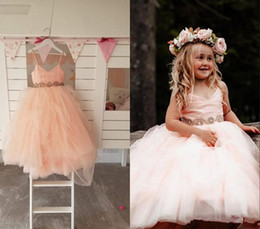 $enCountryForm.capitalKeyWord Australia - Cute Blush Ball Gown Flower Girls Dresses For Wedding Party with Straps Crystal Ribbon Back V neck Beaded Cheap First Communion Dress