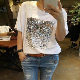 Wholesale Summer new Korean version of the loose large size cotton sequins bamboo cotton white t shirt female short sleeved fitness Y18122401