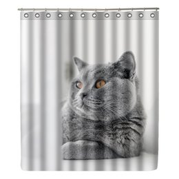 cat shower curtains NZ - WONZOM Cat Shower Curtain Waterproof Wolf Bathroom Curtain Modern Animal Frog Bath With 12 Hooks Accessories Home Decor