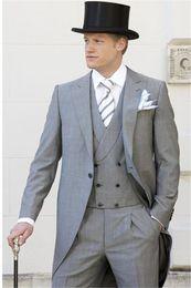 champagne costume men 2019 - 2018 Light Grey Tailcoat Men Suit Slim Fit 3 Piece men suit Tuxedo costume homme Groom Blazer mens suits Terno Masculino