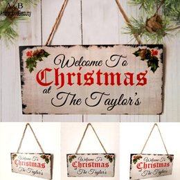 wall hanging signs Australia - Wood Handicraft Christmas Decoration Hanging Board As Shown Home Rectangle Wall Hanging Sign 81.8g