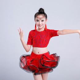 Latin Dancing Suit Australia - Children Latin Dance Dress Girl Short-sleeved Show Ballet Skirt Practicing Suit Competition Clothing Sexy Tango Dresses LR0002