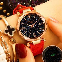Discount starry sky clock - Fashion Starry Sky Women Watches 2019 Luxury Quartz Leather Ladies Wristwatch Creative Retro Waterproof Clock