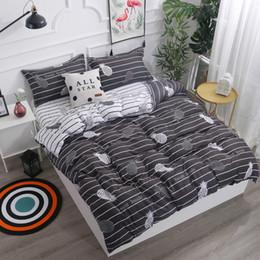 teen bedding sets full 2019 - White Black Pineapple 4Pcs Bedding Set Twin Queen King Size Kids Boys Teens Stripe Duvet Cover Bed Sheets Pillowcases Be