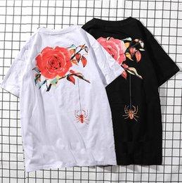 White Rose Pattern Australia - The latest wild rose pattern print men's short-sleeved T-shirt lovers bottoming shirt