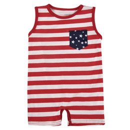 China Kids Striped Stars Rompers Girl Round Collar Short Sleeve Rompers American Flag Independence National Day USA 4th July Boy Pocket Costume supplier national costumes suppliers