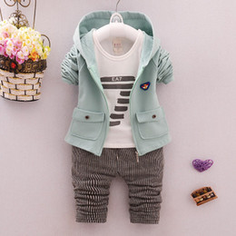 $enCountryForm.capitalKeyWord UK - Toddler Baby Boy Formal Clothing Wear baby printing t shirt coat with pants Fashion Set Children Infant Clothings kids wear casual clothes