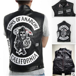 rock costumes Australia - Sons Of Anarchy Embroidery Leather Rock Punk Vest Cosplay Costume Black Color Motorcycle Sleeveless JacketMX190923