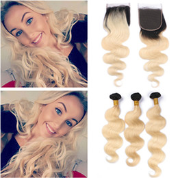 $enCountryForm.capitalKeyWord Australia - #1B 613 Blonde Ombre Body Wave Hair Bundles with Closure Brazilian Wavy Human Hair Ombre Blonde Weave Wefts with 4x4 Lace Closure Piece