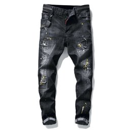 jeans pants style NZ - Rock revival Style Men's slim Denim jeans famous brand patchwork straight zipper jeans pants black hole brand Robin jeans for men 29-38